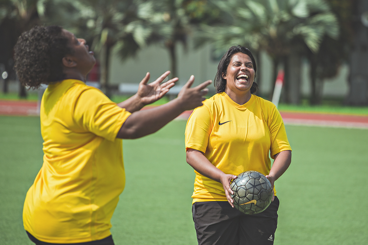 Samantha D'costa, a Special Olympics football coach from India during her training session